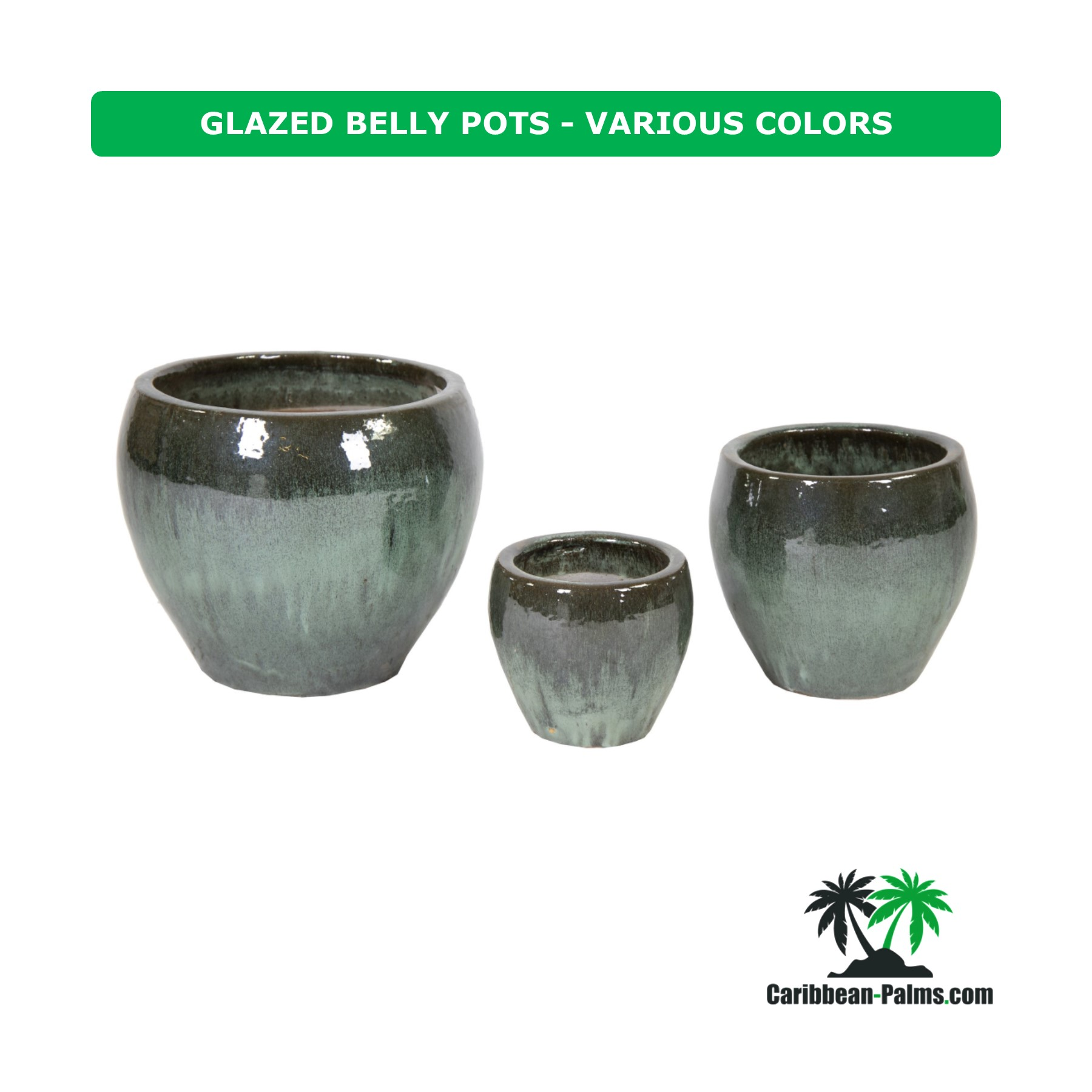 GLAZED BELLY POTS VARIOUS COLORS