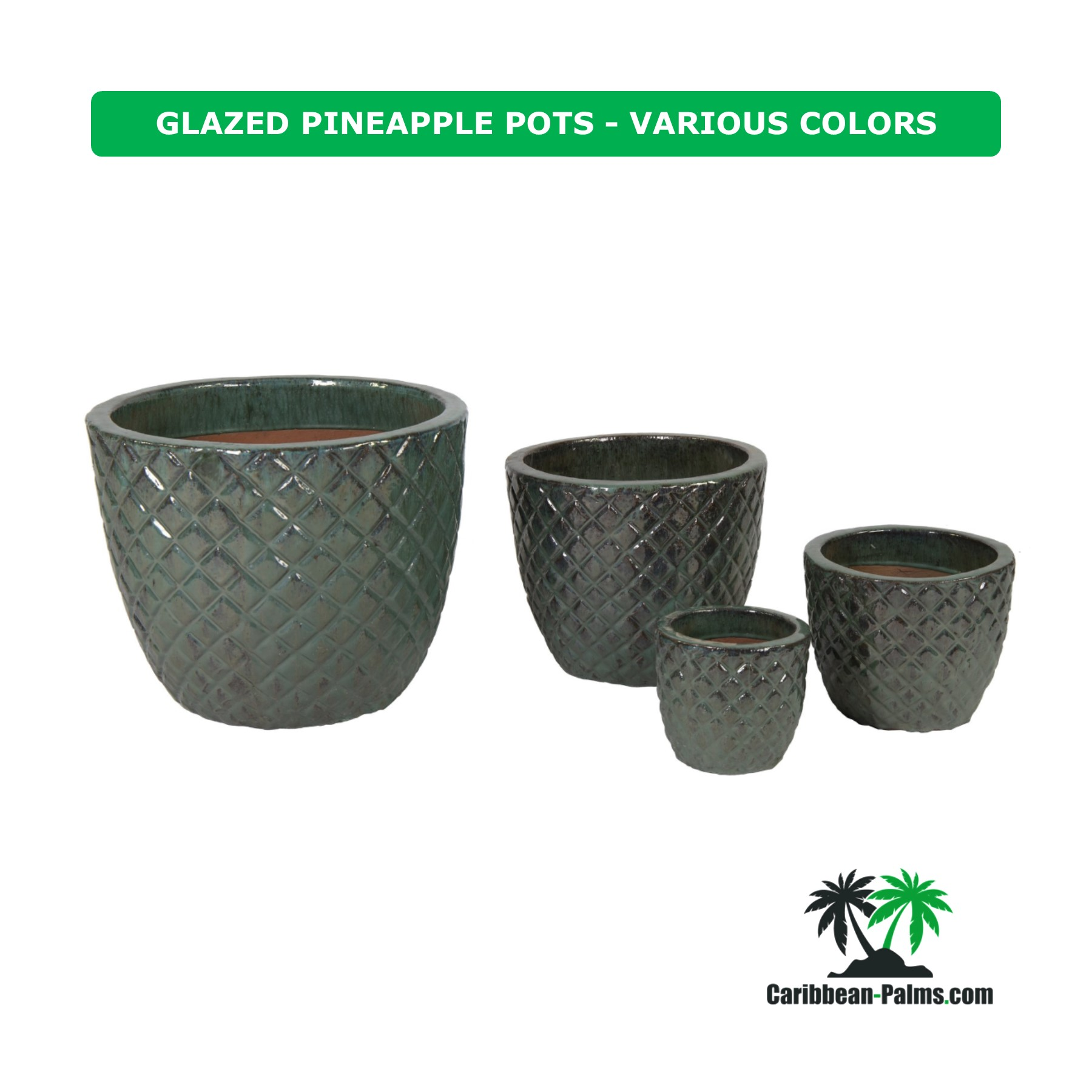 GLAZED PINEAPPLE POTS VARIOUS COLORS