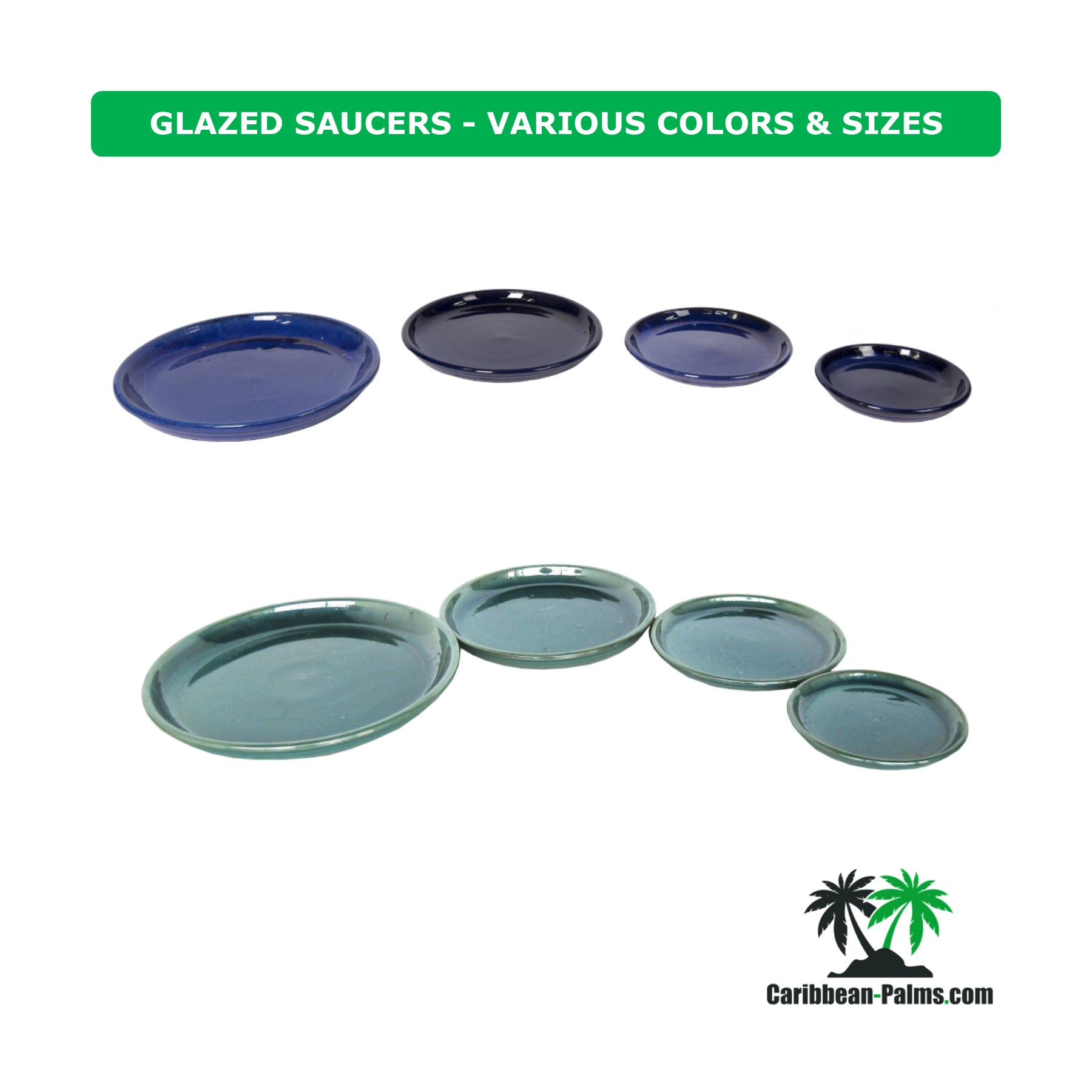GLAZED SAUCERS VARIOUS COLORS SIZES