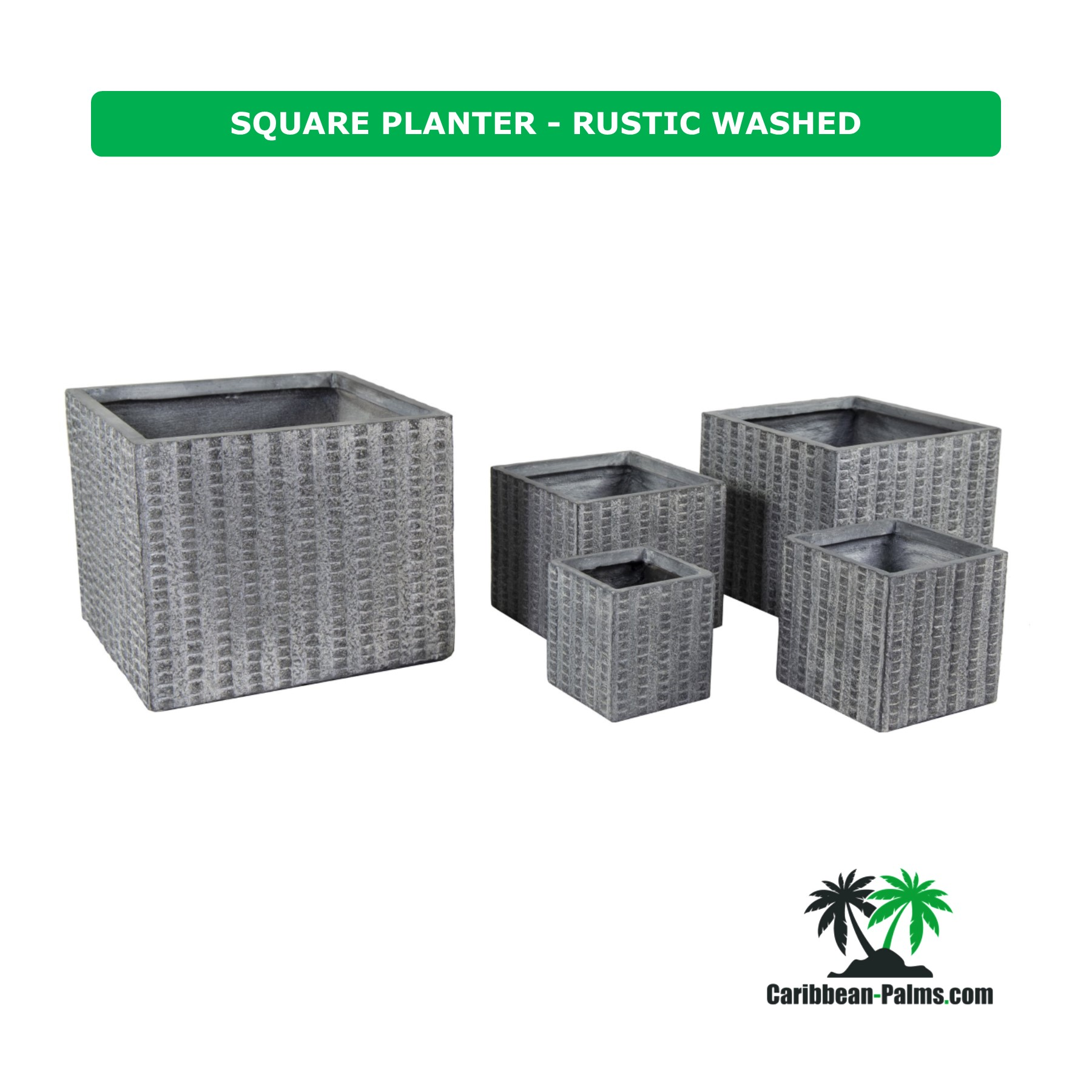 SQUARE PLANTER RUSTIC WASHED