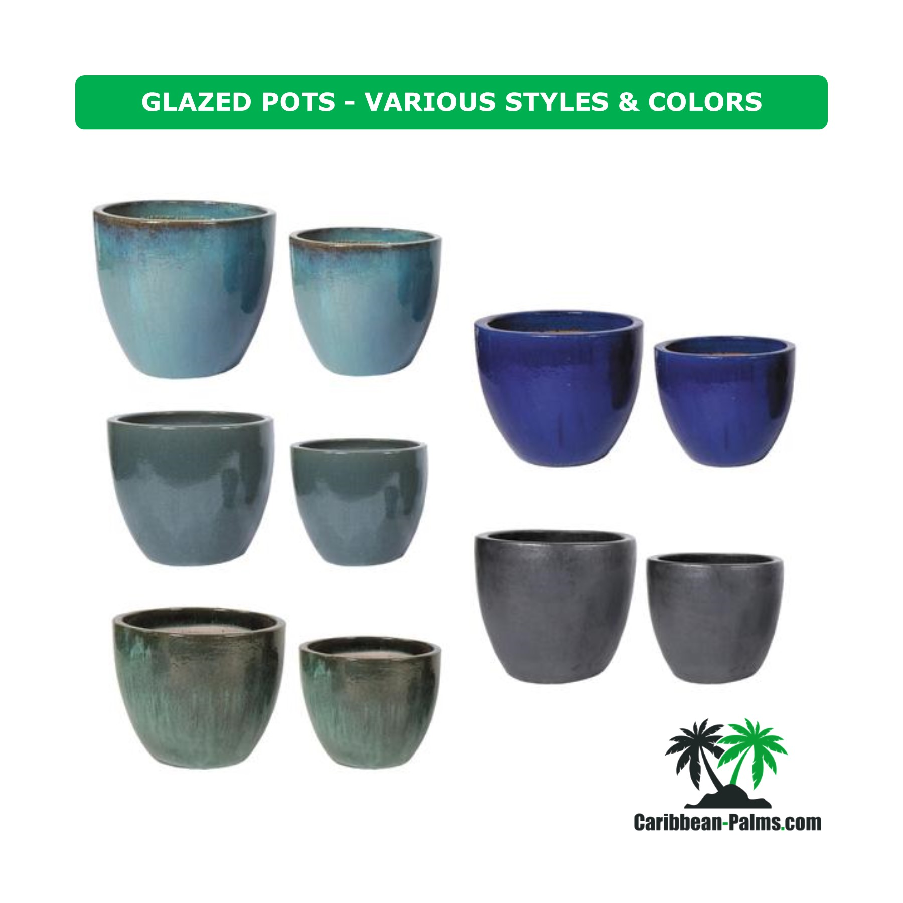 GLAZED POTS VARIOUS STYLES COLORS 1