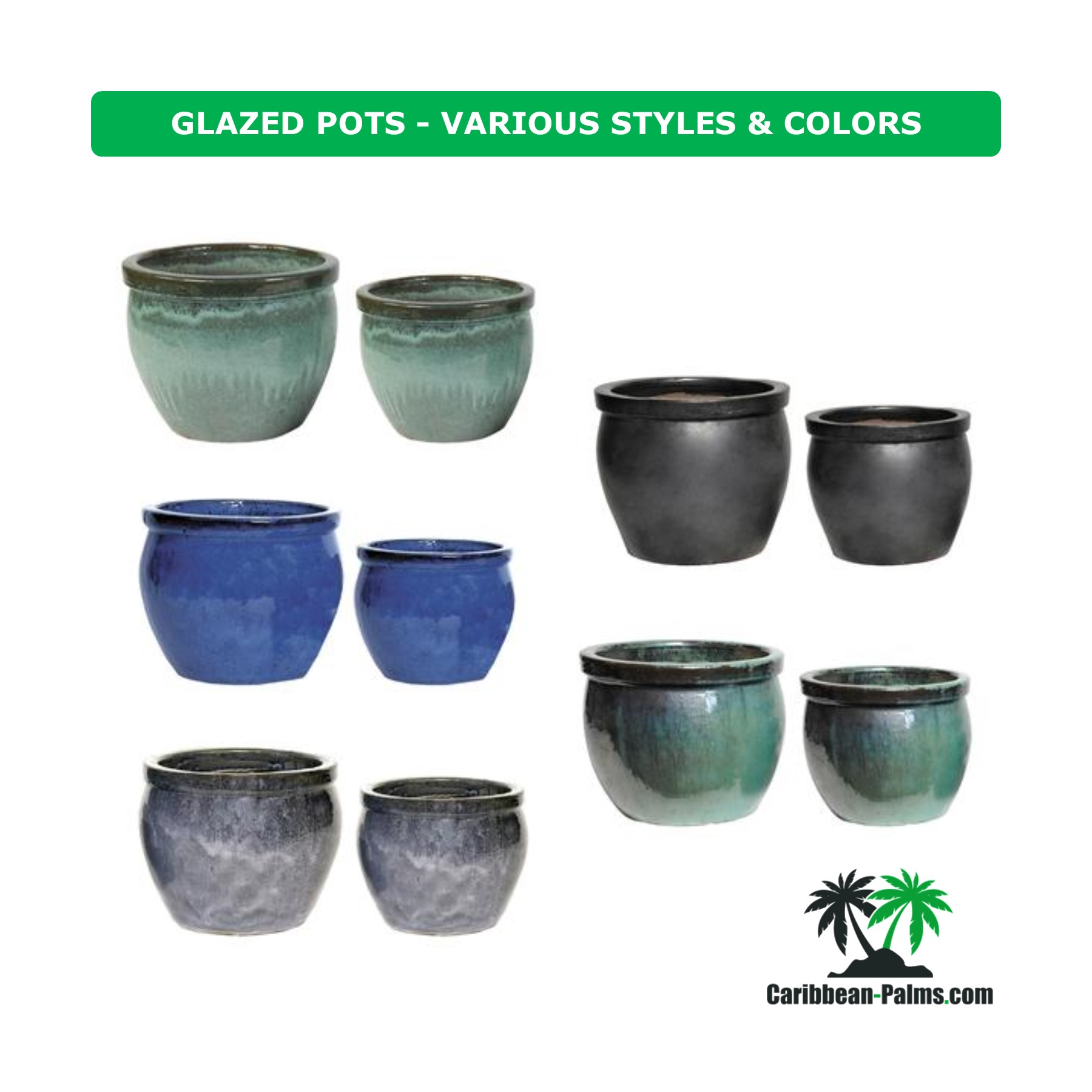 GLAZED POTS VARIOUS STYLES COLORS 2
