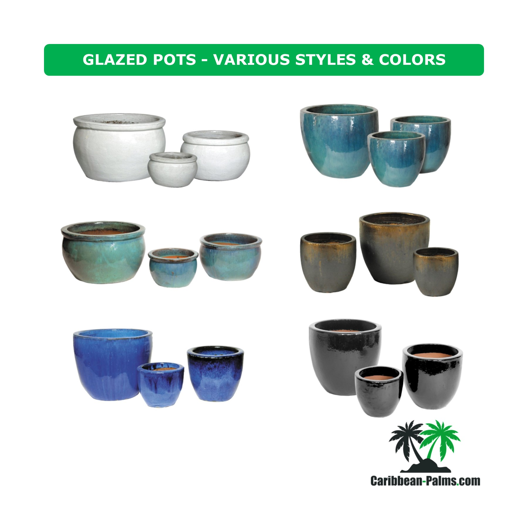 GLAZED POTS VARIOUS STYLES COLORS 3