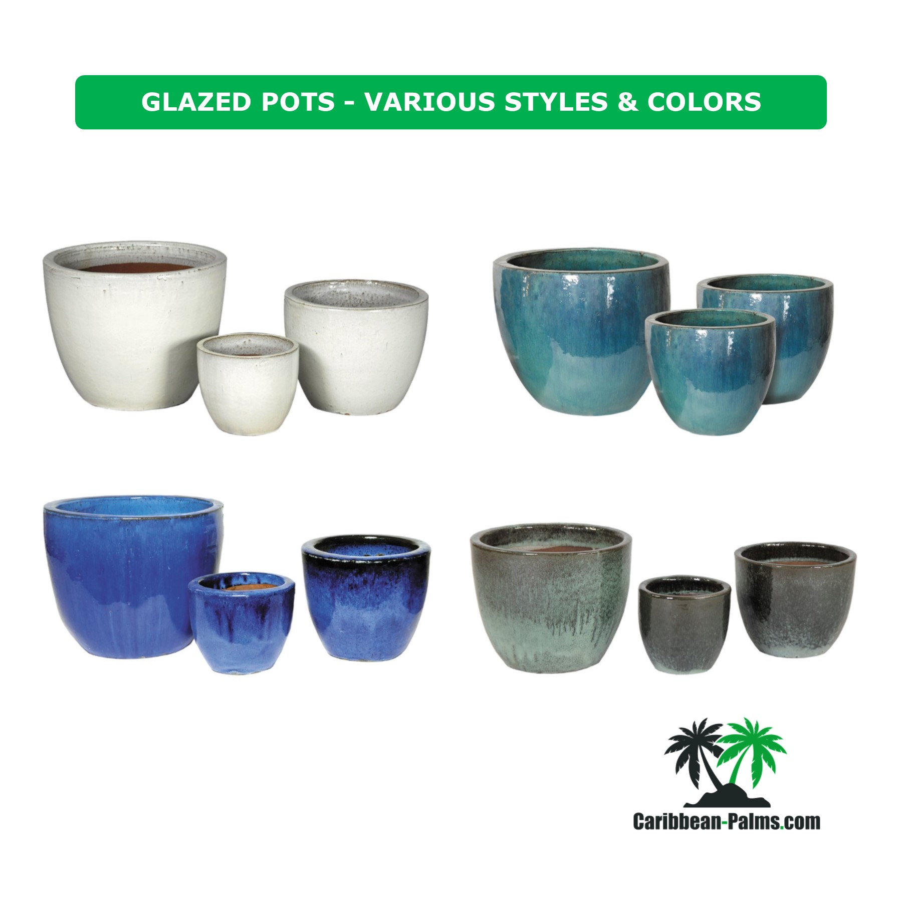 GLAZED POTS VARIOUS STYLES COLORS 4