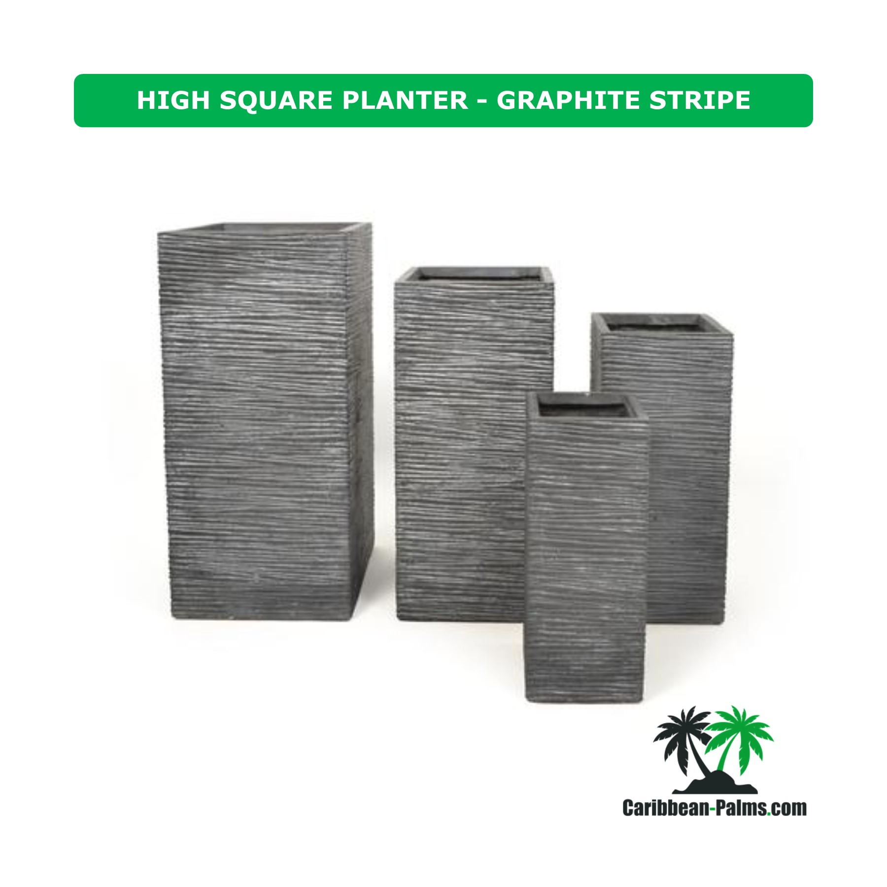 HIGH SQUARE PLANTER GRAPHITE STRIPE