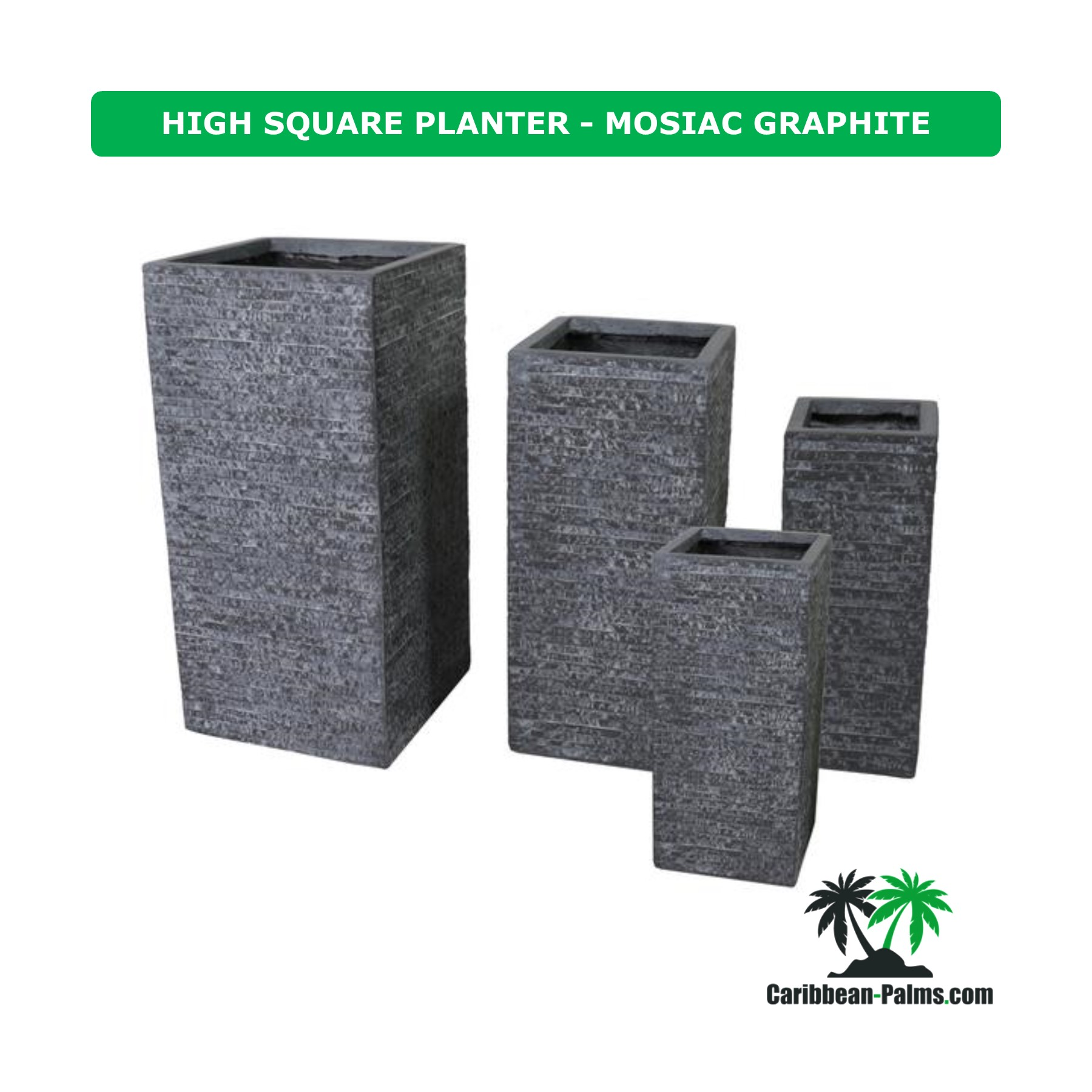 HIGH SQUARE PLANTER MOSIAC GRAPHITE