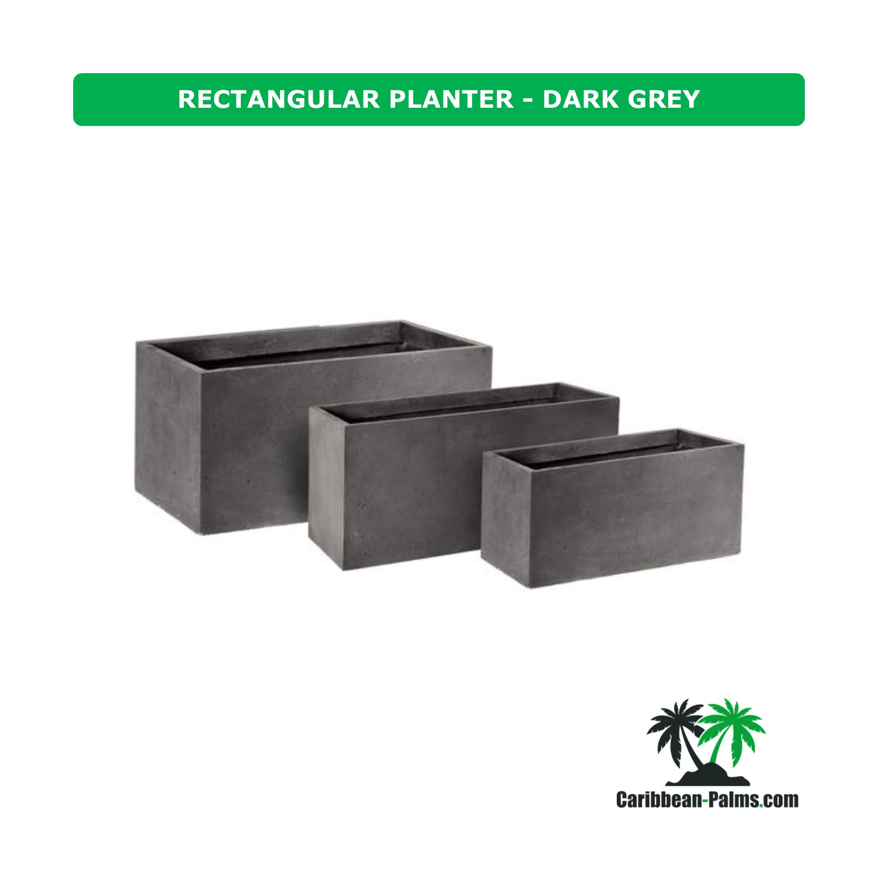 RECTANGULAR PLANTER DARK GREY
