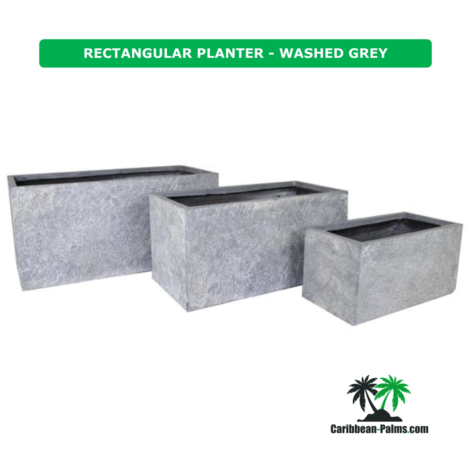 RECTANGULAR PLANTER WASHED GREY