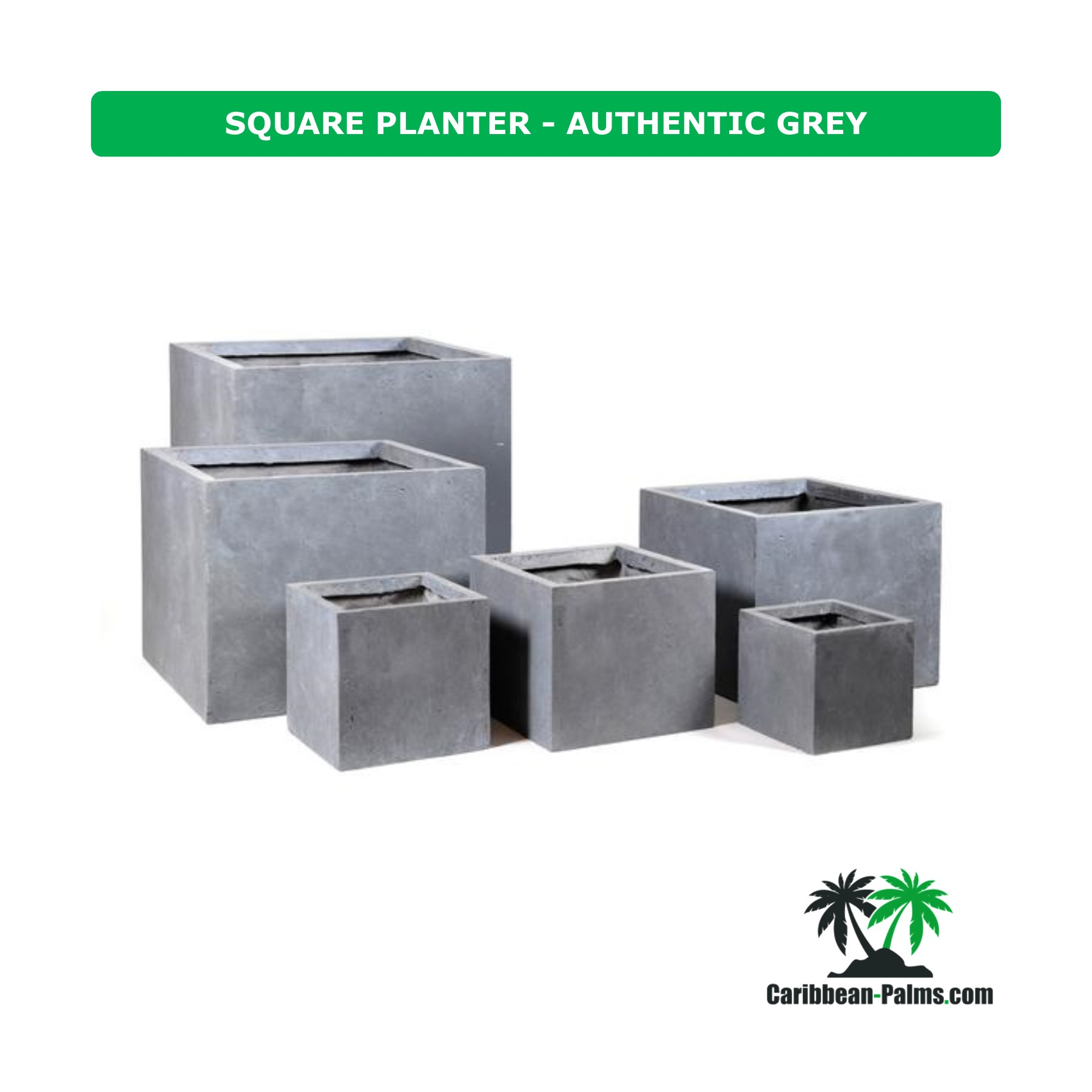 SQUARE PLANTER AUTHENTIC GREY