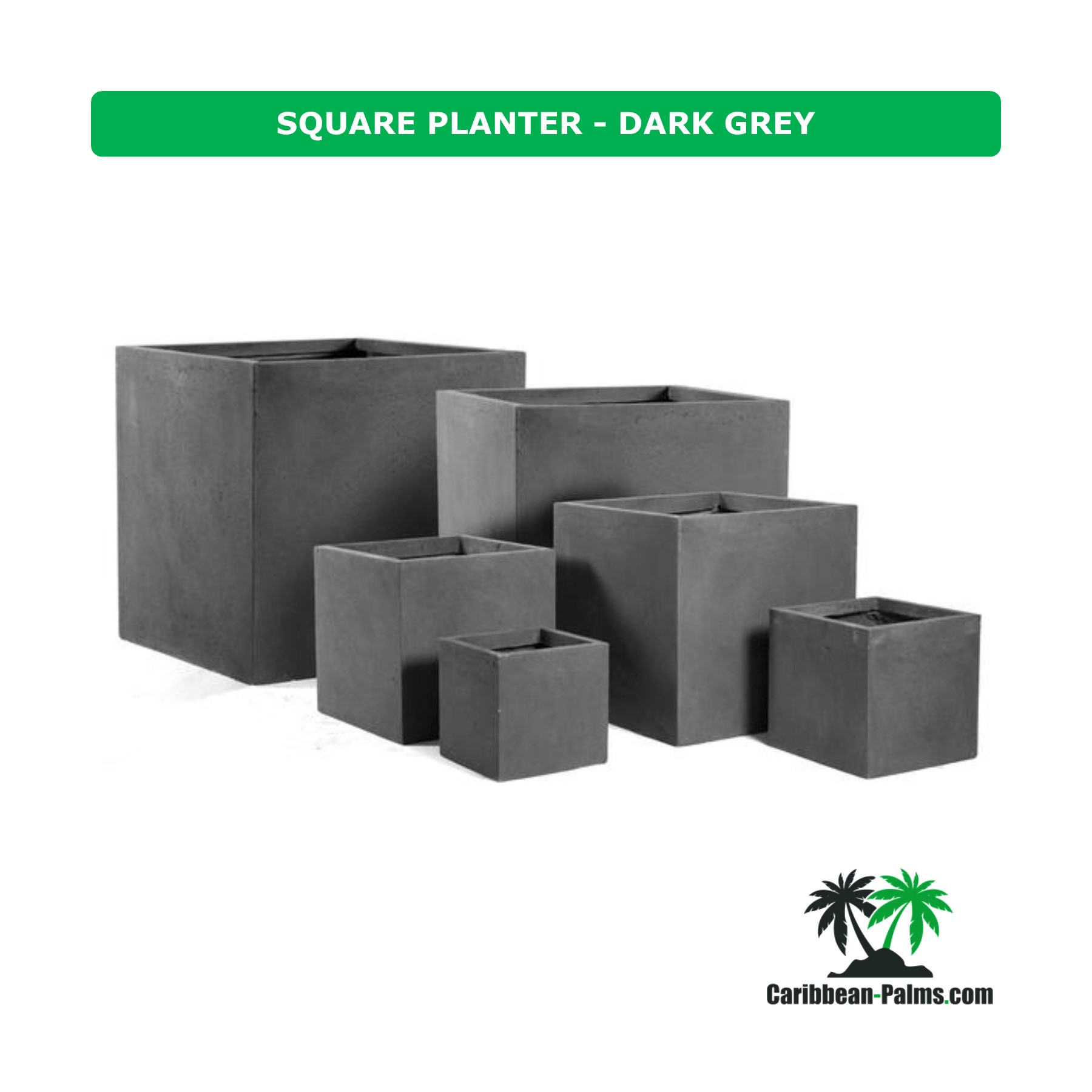 SQUARE PLANTER DARK GREY