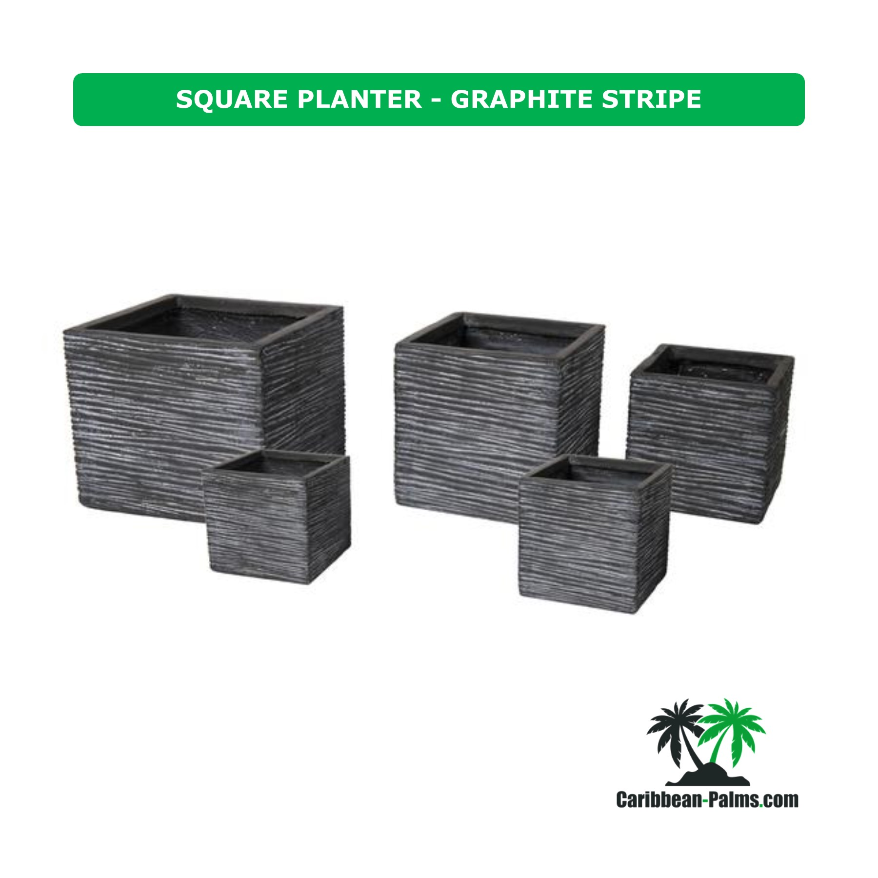 SQUARE PLANTER GRAPHITE STRIPE