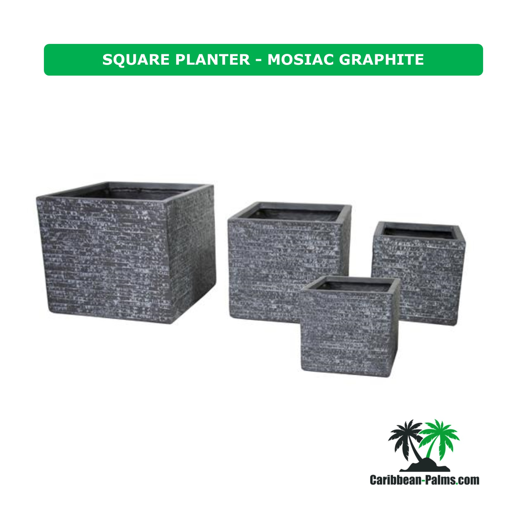 SQUARE PLANTER MOSIAC GRAPHITE