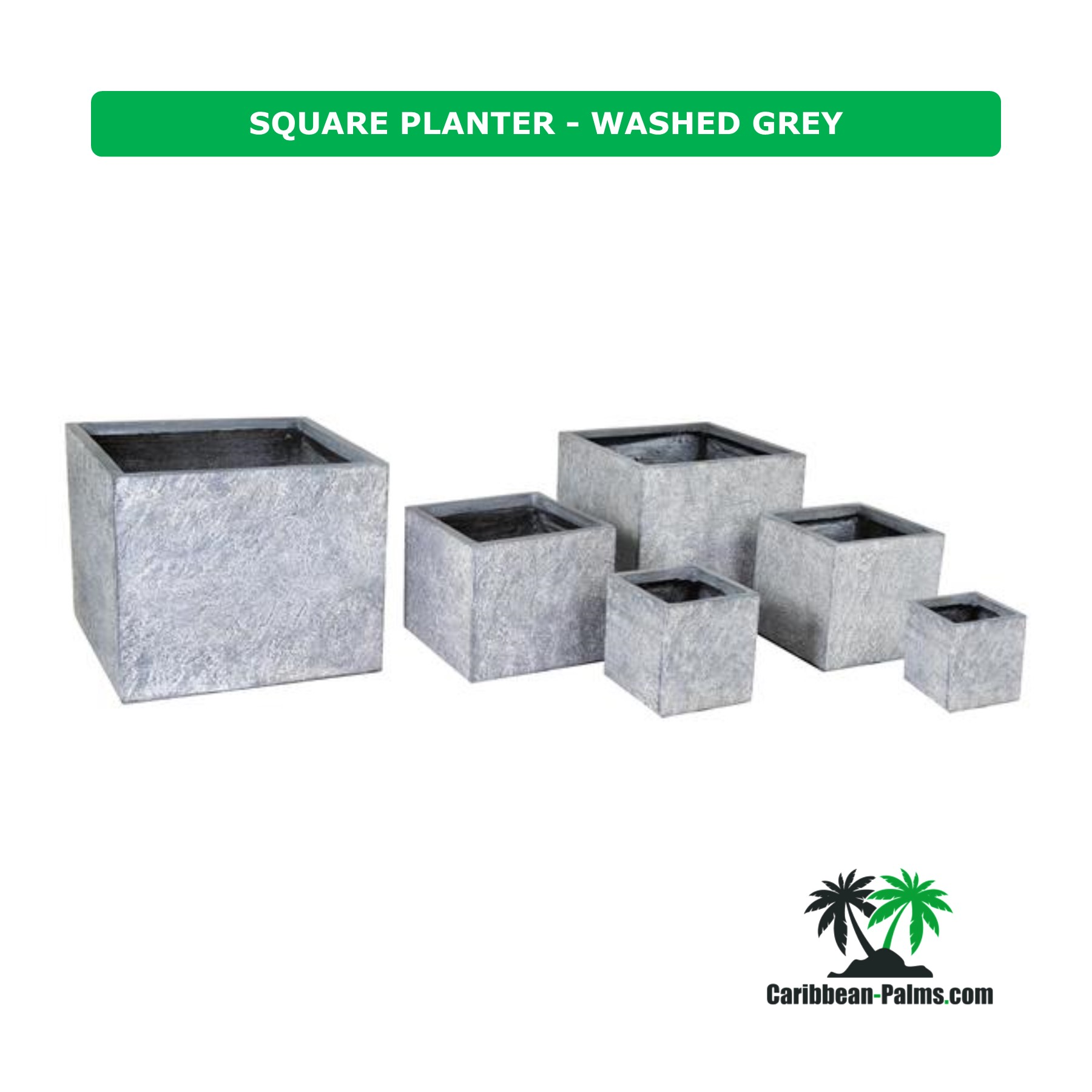 SQUARE PLANTER WASHED GREY